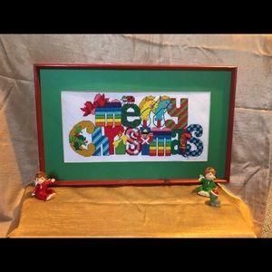 Merry Christmas needlepoint framed artwork VTG